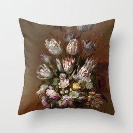 Still life with flowers - Hans Bollongier (1639) Throw Pillow
