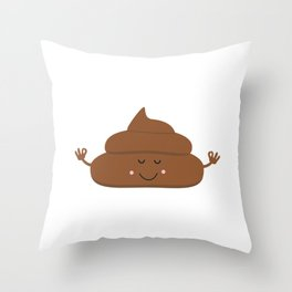 Meditating poo Throw Pillow