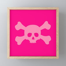 Pink Skull and Crossbones Framed Mini Art Print