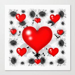 Red  Heart & Black Art  Pattern Canvas Print