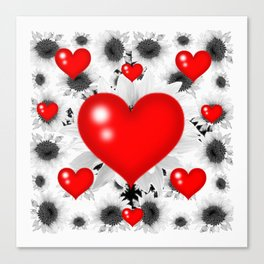 Red  Heart & Black Art  Pattern Canvas Print