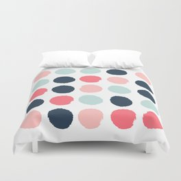 Dots painted coral mint navy pink pattern dotted polka dot minimalist Duvet Cover