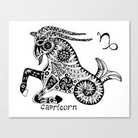 capricorn Canvas Prints featuring Capricorn by Anna Shell