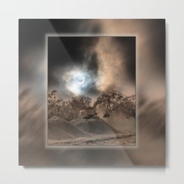 Heavy Duty Earthworks During An Eclipse Metal Print