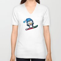 snowboarding V-neck T-shirts featuring Too Cool to Penguin by Schwebewesen • Romina Lutz