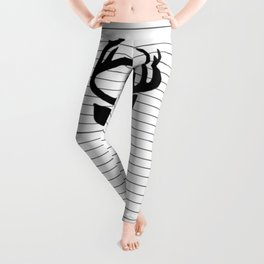 Deer and Black and White Stripes Leggings