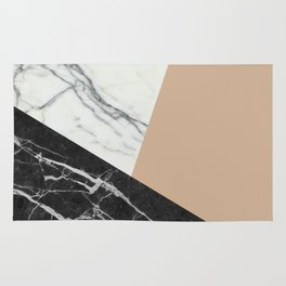 Black and White Marble with Pantone Hazelnut Rug