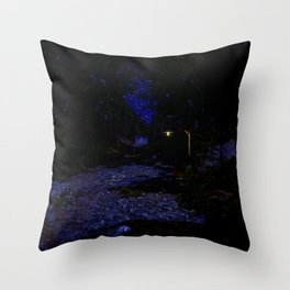 Night time path in the woods Throw Pillow