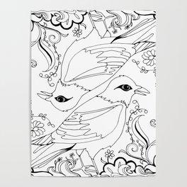 Blackbirds, Black Ink on White Poster