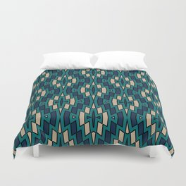 Tribal Diamond Pattern in Navy, Teal and Tan Duvet Cover