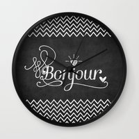 bonjour Wall Clocks featuring Bonjour by Crea Bisontine
