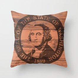 Washington State Flag and Seal Brand Throw Pillow