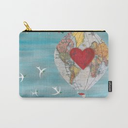 Christmas Santa Claus in a Hot Air Balloon for Peace Carry-All Pouch