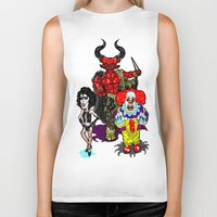 pennywise Biker Tanks featuring Triple Tim Treat! Tim Curry as Pennywise, Legend & Frankenfurter in Rocky Horror picture Show by beetoons