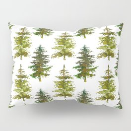 Hand painted green forest green watercolor trees motif Pillow Sham