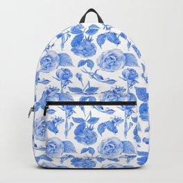 Blue Roses Watercolor Backpack