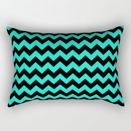 Blue and Black Zigzag Stripes Rectangular Pillow