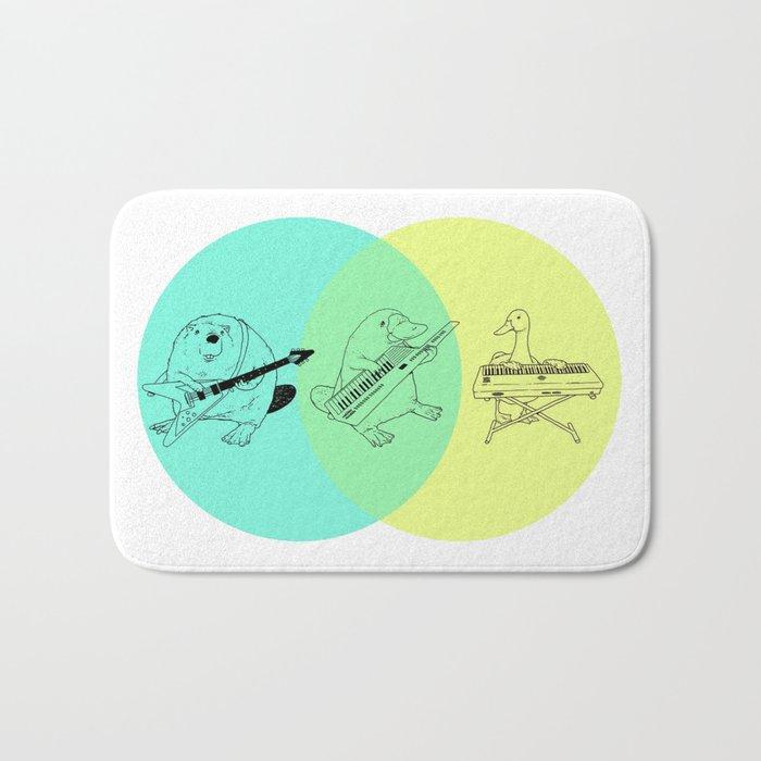 Keytar Platypus Venn Diagram Bath Mat
