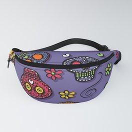 Sugar Skulls (on purple) - calavera, skull,  halloween, illustration Fanny Pack