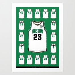Celtics Roster Green Art Print