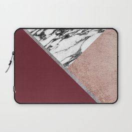 Marble Rose Gold Red Wine Triangle Geometric Laptop Sleeve