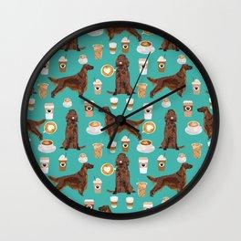 Irish Setter coffee latte dog breed cute custom pet portrait for dog lovers Wall Clock