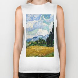 "Vincent van Gogh ""Wheat Field with Cypresses"" Biker Tank"