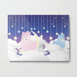 Night Sky Alpacas Metal Print