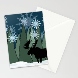 Moose in the Snowy Forest Stationery Cards
