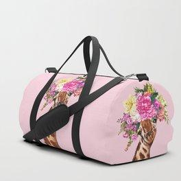 Flower Crown Baby giraffe in Pink Duffle Bag