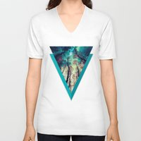 nordic V-neck T-shirts featuring NORDIC LIGHTS by RIZA PEKER