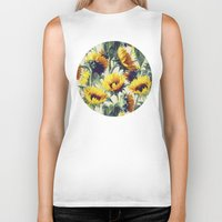 grey Biker Tanks featuring Sunflowers Forever by micklyn