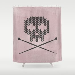 Knitted Skull / Knitting with Attitude (Black on antique rose colour) Shower Curtain