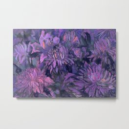 Chrysanthemum Abstraction, Abstract Floral, Twilight Palette  Metal Print