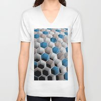 honeycomb V-neck T-shirts featuring Honeycomb by amanvel