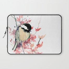 Chickadee and Cherry Blossom Laptop Sleeve