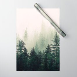 Foggy Pine Trees Wrapping Paper