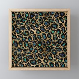 Leopard Faux Fur Texture Marble and gold Framed Mini Art Print