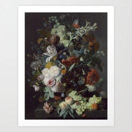 Jan van Huysum Still Life with Flowers and Fruit Art Print