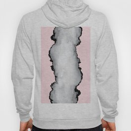 Blush Pink Gray and Black Graphic Cloud Effect Hoody