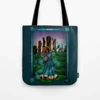 merida Tote Bags featuring Silhouette Merida  by Katie Simpson a.k.a. Redhead-K