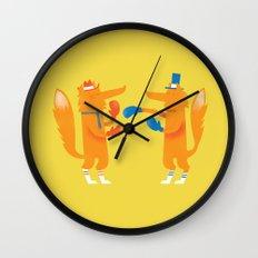 Posh foxes like to box while wearing socks Wall Clock