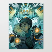 gundam Canvas Prints featuring Aztec Gundam by CKellyIllustration