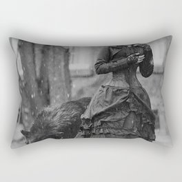 The Girl and the Big Bad Wolf black and white photograph Rectangular Pillow
