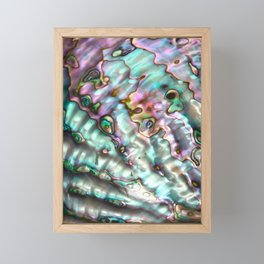 Glowing Cotton Candy Pink & Green Abalone Mother of Pearl Framed Mini Art Print