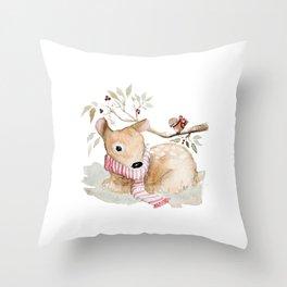 Watercolor Christmas fawn Throw Pillow