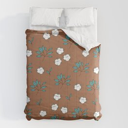Autumn field lovers cotton balls and leaves botanical garden rust blue Comforters