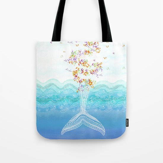 Flying whale Tote Bag