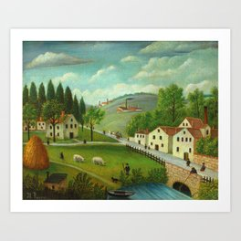 """Henri Rousseau """"Pastoral landscape with stream, fisherman and stroller"""" Art Print"""