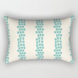 Turquoise irregular rectangles on beige Rectangular Pillow